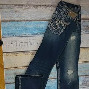 Silver pioneer distressed jeans